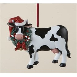 Animal Ornament - Kurt Adler Cow in Santa Hat Ornament