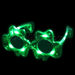 Fun Central G732 LED Light Up Green Adult Shamrock Glasses