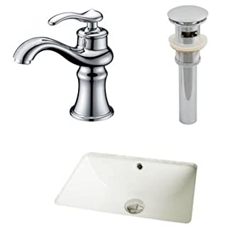 "American Imaginations AI-12989 CUPC Rectangle Undermount Sink Set with Single Hole CUPC Faucet and Drain, 18.25"" x 13.5"", Biscuit"