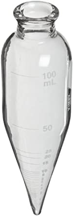 "Kimax 45243-100 Glass 100mL Oil Short Cone Centrifuge Tube for Petroleum Field Testing, Calibrated 'To Contain', 6"" Length, Clear, Pack of 6"