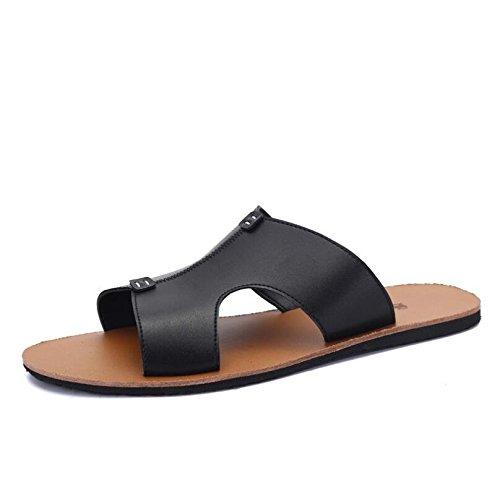 Primavera ed estate del 2016 nuova tendenza di moda casual cool di scarpe pantofole sandali in pelle slip uomo , black , 40