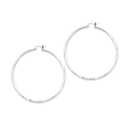 2.5mm, Satin, Diamond-cut, Extra Large Silver Hoops - 55mm (2-1/8