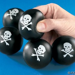 12 Pirate Skull And Crossbones Squeeze Balls