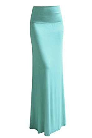 High Quality Solid Flared Maxi Long Skirt (Large, Light Sky Blue)