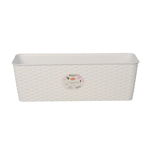 Balconetta Vaso Fioriera Natural Lunghezza Cm 40 Colore Bianco