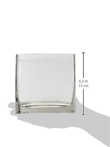 """6"""" Square Glass Vase - 6 Inch Clear Cube Centerpiece - 6x6x6 Candleholder"""