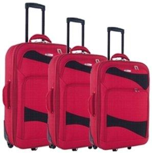Reisetrolley Koffer rot Weichgepäck 3-teiliges