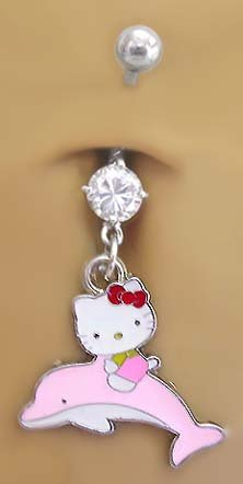 Riding a Dolphin Hello Kitty Dangle Belly Navel body jewelry piercing bar Ring