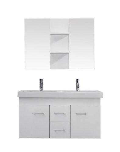 Virtu Usa Um-3067-C-Wh Modern 48-Inch Double Sink Bathroom Vanity Set With Polished Chrome Faucet, White