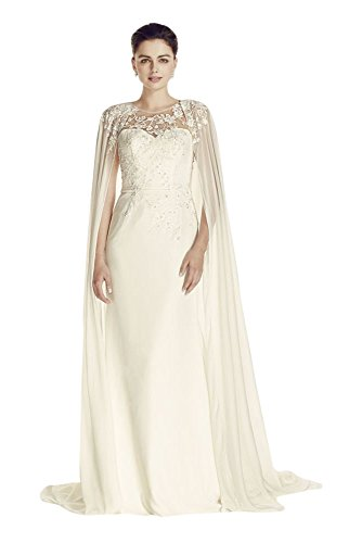 Oleg Cassini Crepe Wedding Dress with Chiffon Cape Style CWG716 ...