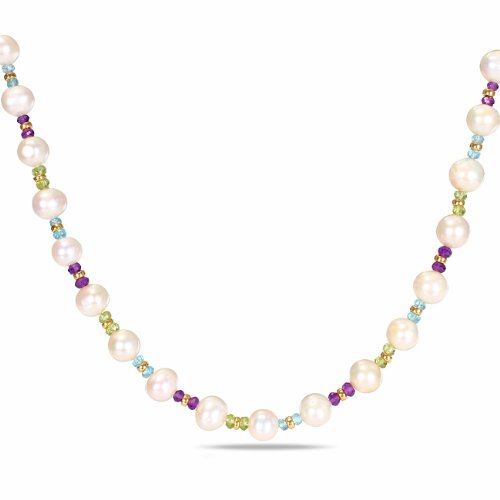 Sterling Silver 10 CT TGW Multi-colored Multi-Gemstone FW White Pearls Necklace (18 in)