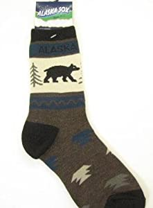 Alaska Novelty Socks Black Bear Tree Ladies 8-11