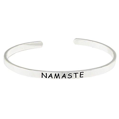 O.RIYA NAMASTE Brass Hand Stamped Bracelet , Bangle Cuff Bracelets Namaste Bracelet - Yoga Meditation jewelry , Handmade Jewelry Mindfulness (Namaste Yoga Season 2 compare prices)
