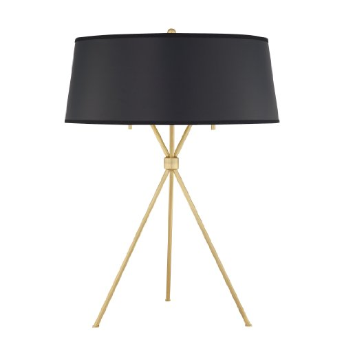Quoizel LSP6325NR1 2-Light Solid Brass Epoch Table Lamp with Black Paper Shade with Matte Gold Liner, Natural Brass