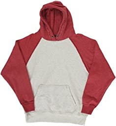 J America Adult Vintage Heather Pullover Hood (Oatmeal Hthr_Simply Red) (XL)