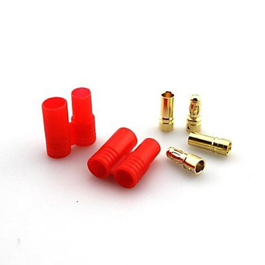 Zcl 3.5Mm Banana Plug Gold Plated Connector With One Red Abs Plastic Housing,Electric Current:60A (5Pcs)