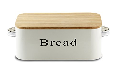 Bread Box - Vintage Metal Bread Bin Cream with Bamboo Lids - By Svebake