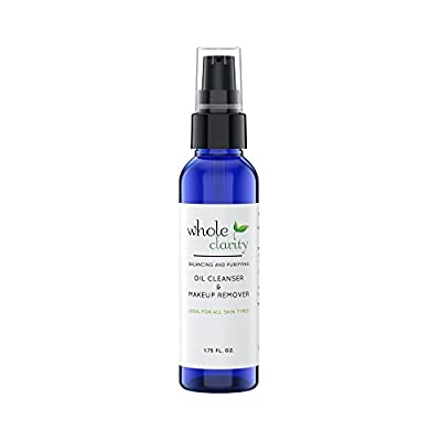 Cleansing Oil & Waterproof Makeup Remover, All Natural, Reduces Fine Lines & Wrinkles, Helps Heal Acne and Scaring, with Organic Jojoba & Rosehip Oils, for All Skin Types by Whole Clarity 1.75 FL. OZ