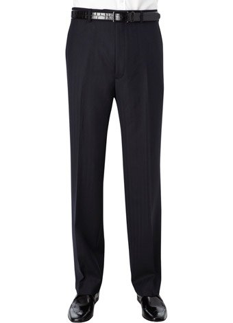 Austin Reed Regular Fit Navy Herringbone Trousers SHORT MENS 32