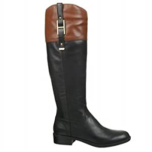Tommy Hilfiger Women's Gibsy Riding Boot,Black/Chestnut,6.5 M US