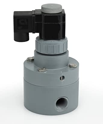 Plast-O-Matic PS Series Polypropylene Pilot Solenoid Valve, For Acids and Highly Corrosive Liquids, 2 Ways, Normally Closed, EPDM Diaphragm, NPT Female