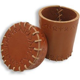 Q-Workshop QWS CRUN102 Runic Leather Dice Cup (Brown)