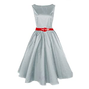 Musical Holiday Women's Audrey Hepburn 50s Boat Neck Swing Retro Vintage Dress (XL)