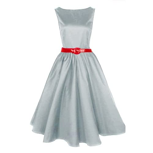 Musical Holiday Women's Audrey Hepburn 50s Boat Neck Swing Retro Vintage Dress (3XL)