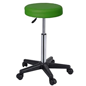 Miadomodo VBHK01 1st Adjustable Stool with Wheels 63 - 86 cm Synthetic Leather Choose from Various Colours green