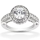 1.15CT Vintage Halo Diamond Ring 14K White Gold