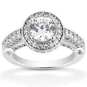 1.15CT Vintage Halo Diamond Gatsby Style Ring 14K White Gold