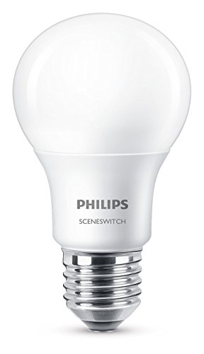 Philips Scene Switch LED 8 W (60 W) E27 Edison Screw Light Bulb (3 Step Dimming, Natural Light, Cosy Light) - Warm White