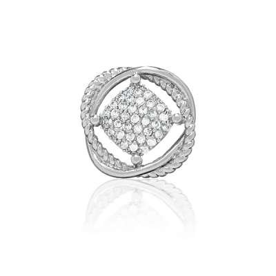 Charm Necklace Pendant Jewelry Sterling Silver Square Shaped w/ CZ Surrounded by Interwoven Twisted Rope Lines(WoW !With Purchase Over $50 Receive A Marcrame Bracelet Free)