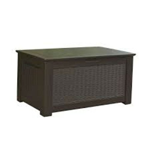 93 Gal. Modern Dark Brown Weather-resistant Resin Storage Bench Deck Box | Perfect Patio Series Outdoor Storage with Lockable and Lift Assisted Lid | Ideal Bench for Storing Patio Cushions, Garden Supplies, Toys and Grill Accessories