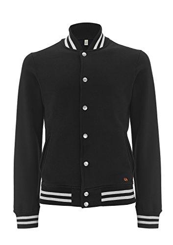 100% Certified Organic Cotton Varsity Jacket - Underhood of London (Small) (Black - White Stripes)