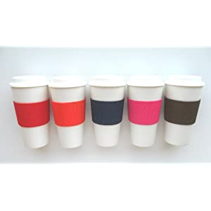 Travel Coffee Tea Mug Plastic 15oz Set of 3 Assorted Colors with Silicone Sleeve - Eco Friendly & Re-usable