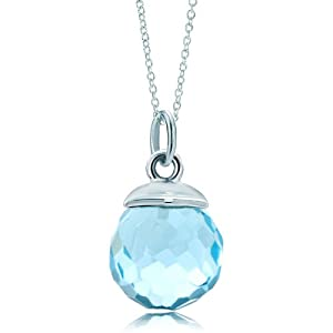 Pugster Silver Tone Aquamarine Blue Crystal Diamond Accent Link Charm For Charms Bracelet & Pendant Necklace