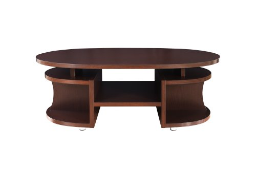 Furniture Of America Reneto Open And Curved Coffee Table, Walnut