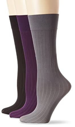Ellen Tracy Women's 3 Pair Pinstripe Trouser Sock Pack, Black/Gray/Purple, 9-11