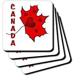Canada - Maple Leaf - Hearts - Set Of 4 Ceramic Tile Coasters