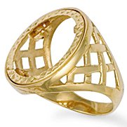 Jewelco London 9ct Solid gold Full sovereign Size X coin mount Ring with basket design shoulders,Size X