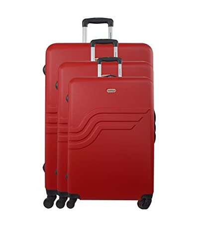 AMERICAN TRAVEL Set 3 Trolley Rigido Queens [Rosso]