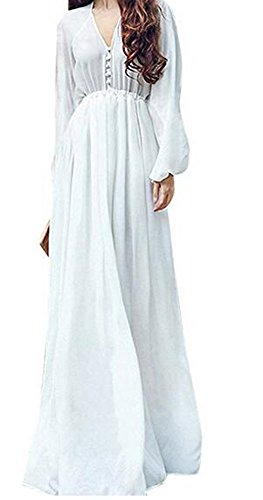 SHFZ Women's Elegant White Long Sleeve Casual Loose Chiffon Dress (Asia S/US 4)