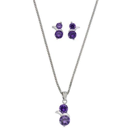 ZEEme Damen-Set: Halskette + Ohrringe 925 Sterling Silber rhodiniert Zirkonia violett 500201213-93-45