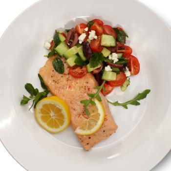 Salmon with Greek salad