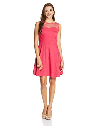 Miss Chase Women's Cotton Skater Dress (MCAW14D02-67-122_Pink_X-Large)