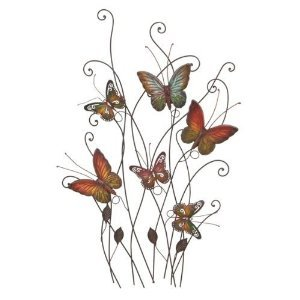 Beautiful Colored Metal Butterfly Resting on Plants Wall Decor