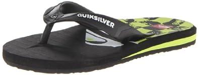 Quiksilver CARVER 4 Flip-Flop (Toddler/Little Kid/Big Kid),Black/Green,11 M US Little Kid