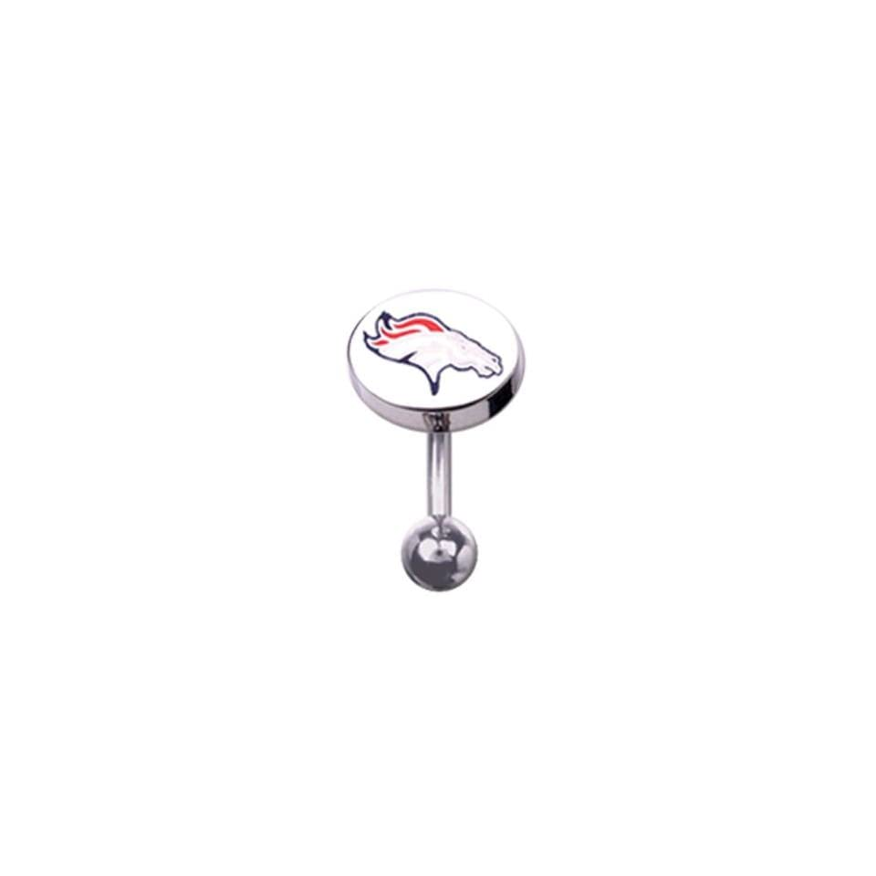 316L Stainless Stee Denver Broncos Belly Ring   14G (1.6mm), 3/8 Bar Length   Sold Individually