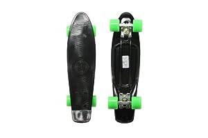 Stereo Vinyl Cruiser Plastic Complete Skateboard (Black, 22.5x6-Inch)